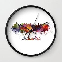 Jakarta skyline in watercolor Wall Clock