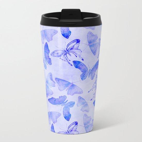 Purple Watercolor Butterfly Pattern Metal Travel Mug