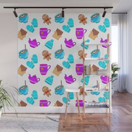 Lovely gingerbread men cookies, chocolate, hot cocoa with marshmallows, cozy homey winter pattern Wall Mural