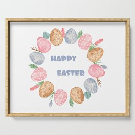 Happy Easter Wreath Colorful Eggs and Easter Flowers on White Serving Tray