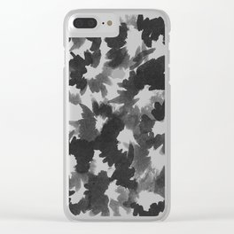 Black Flowers Clear iPhone Case