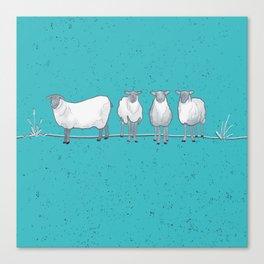 Happy White Sheep Tossed Print Aqua - Susanne Johnson Art Canvas Print