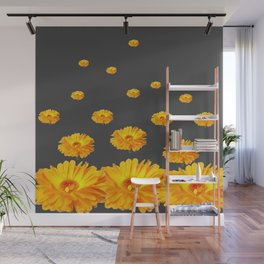 FLOATING YELLOW FLOWERS CHARCOAL GREY Wall Mural