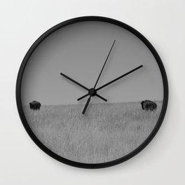 Two Tallgrass Bison Wall Clock