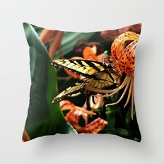 Tiger Lily and Butterfly Throw Pillow