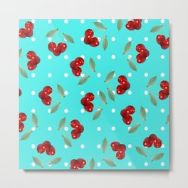 Retro Cherries Metal Print
