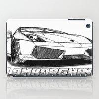 lamborghini iPad Cases featuring Lamborghini line drawing by JT Digital Art