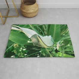 Bird of Paradise Leaves in Tropical Rainforest Rug