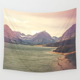 Retro Mountain Lake Wall Tapestry