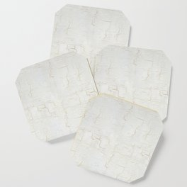 White Crackle Paint on Gold Pattern Coaster