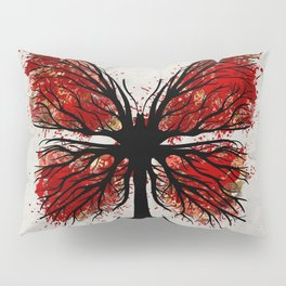 Butterfly Tree - Ink and Red Pillow Sham