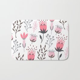 Pink and Gray Tulips Bath Mat
