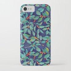 Leaves + Berries in Navy Blue, Teal & Tangerine Slim Case iPhone 7