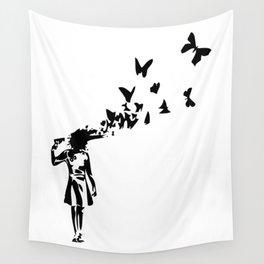 Banksy - Girl Shooting Her Head With Butterfly Design, Streetart Street Art, Grafitti, Artwork, Desi Wall Tapestry