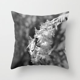 Bee2 and Blood Currant Ribes Sanguineum bw Throw Pillow