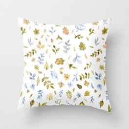 Watercolor Leaf Pattern Throw Pillow