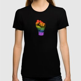 Gay Pride Rainbow Flag on a Raised Clenched Fist T-shirt