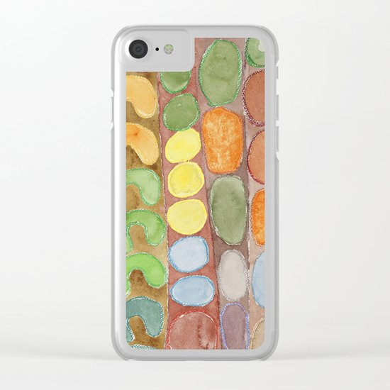 Striped Colorful Pattern with Croissants Clear iPhone Case