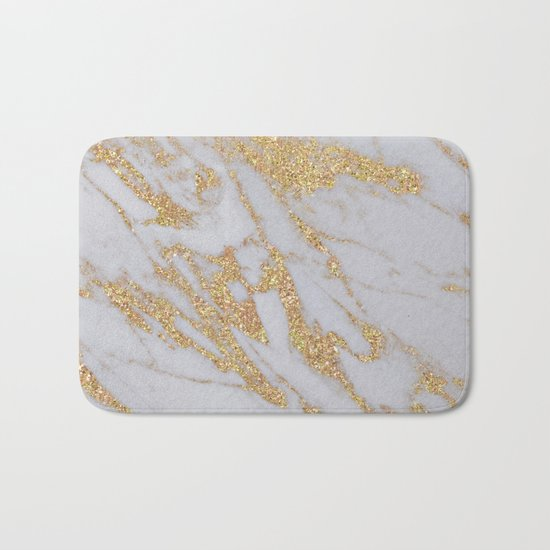 Marble - Rose Gold Marble with Yellow Gold Glitter Bath Mat