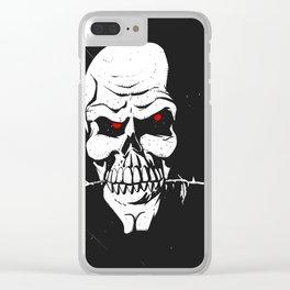 Skull with flower between teeth - halloween skull - skeleton cartoon - gothic illustration Clear iPhone Case