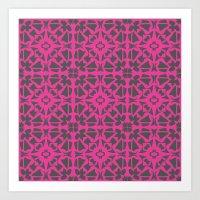 gray pattern Art Prints featuring Magenta Gray pattern by xiari