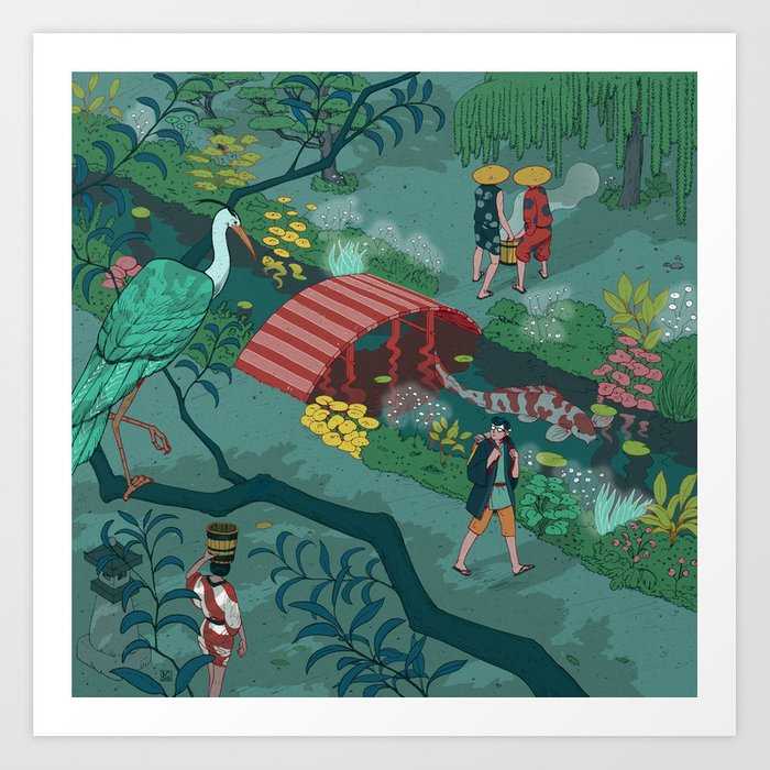 Ukiyo-e tale: The beginning of the trip Art Print
