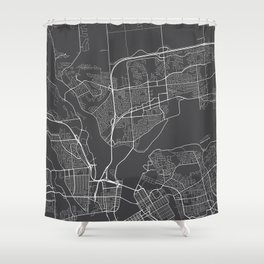Gatineau Map, Canada - Gray Shower Curtain