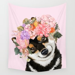 Black Shiba Inu with Flower Crown Pink Wall Tapestry