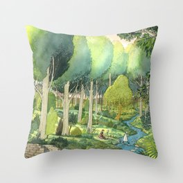 Painting By The Stream Throw Pillow