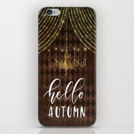 Hello Autumn Diamond Background iPhone Skin