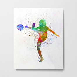 Woman soccer player 17 in watercolor Metal Print