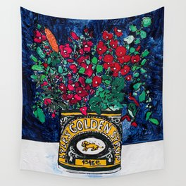 Wild Flowers in Golden Syrup Tin on Blue Wall Tapestry