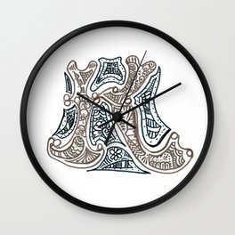 """26. Henna Letters of the Alphabet """" K """" Wall Clock"""
