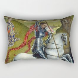 Saint George and the Dragon Oil Painting by Rogier van der Weyden Rectangular Pillow