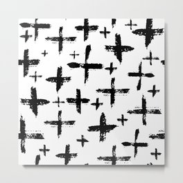 Pattern with brush cross and strokes Metal Print