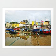 Tenby Harbour Reflection.Wales. Art Print
