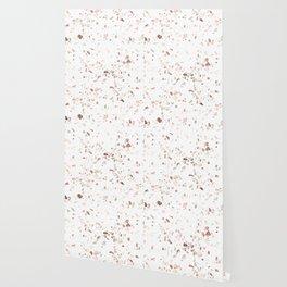 Rose Gold on White Terrazzo Wallpaper