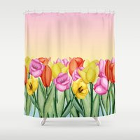 tulips Shower Curtains featuring Tulips by Julia Badeeva