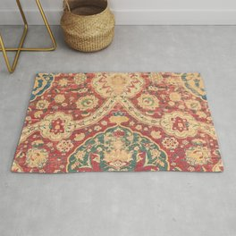Peonies Kashan I // 16th Century Distressed Colorful Red Tan Light Blue Ornate Accent Rug Pattern Rug