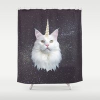 unicorn Shower Curtains featuring Unicorn Cat by Oh Monday