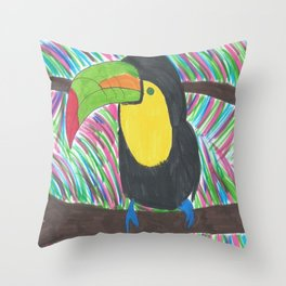 Colorful Tropical Toucan Throw Pillow