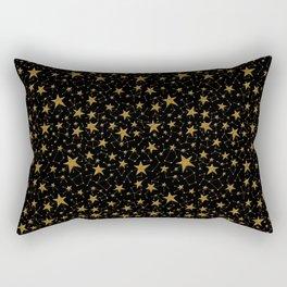Starry Night Gold Twinkles Rectangular Pillow