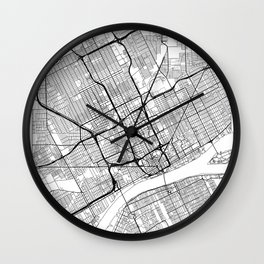 Detroit Map White Wall Clock