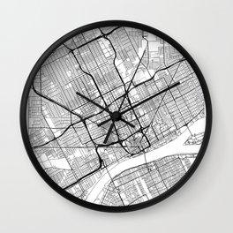 Detroit Map White Wall Clock