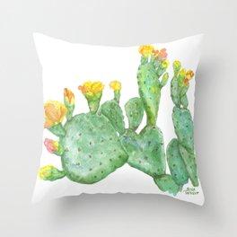Prickly Pear Cactus Watercolor Throw Pillow
