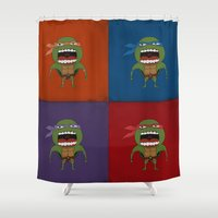 turtles Shower Curtains featuring Screaming Turtles by That Design Bastard