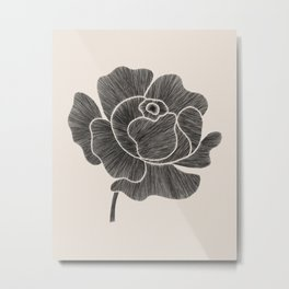 Black Peony II Metal Print
