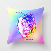 hakuna Throw Pillows featuring Hakuna Matata by Laura Santeler