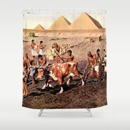 Classical Masterpiece Egyptian Farmers & Giza Pyramids by Herbert Herget Shower Curtain