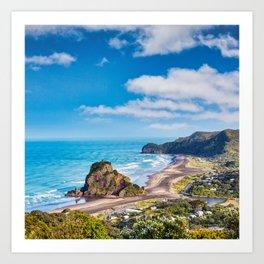 Piha Beach and Lion Rock, New Zealand Art Print